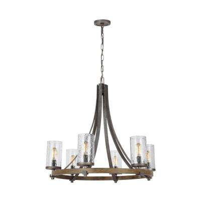 Angelo 30 in. W. 6-Light Distressed Weathered Oak Chandelier with Clear Thick Wavy Glass