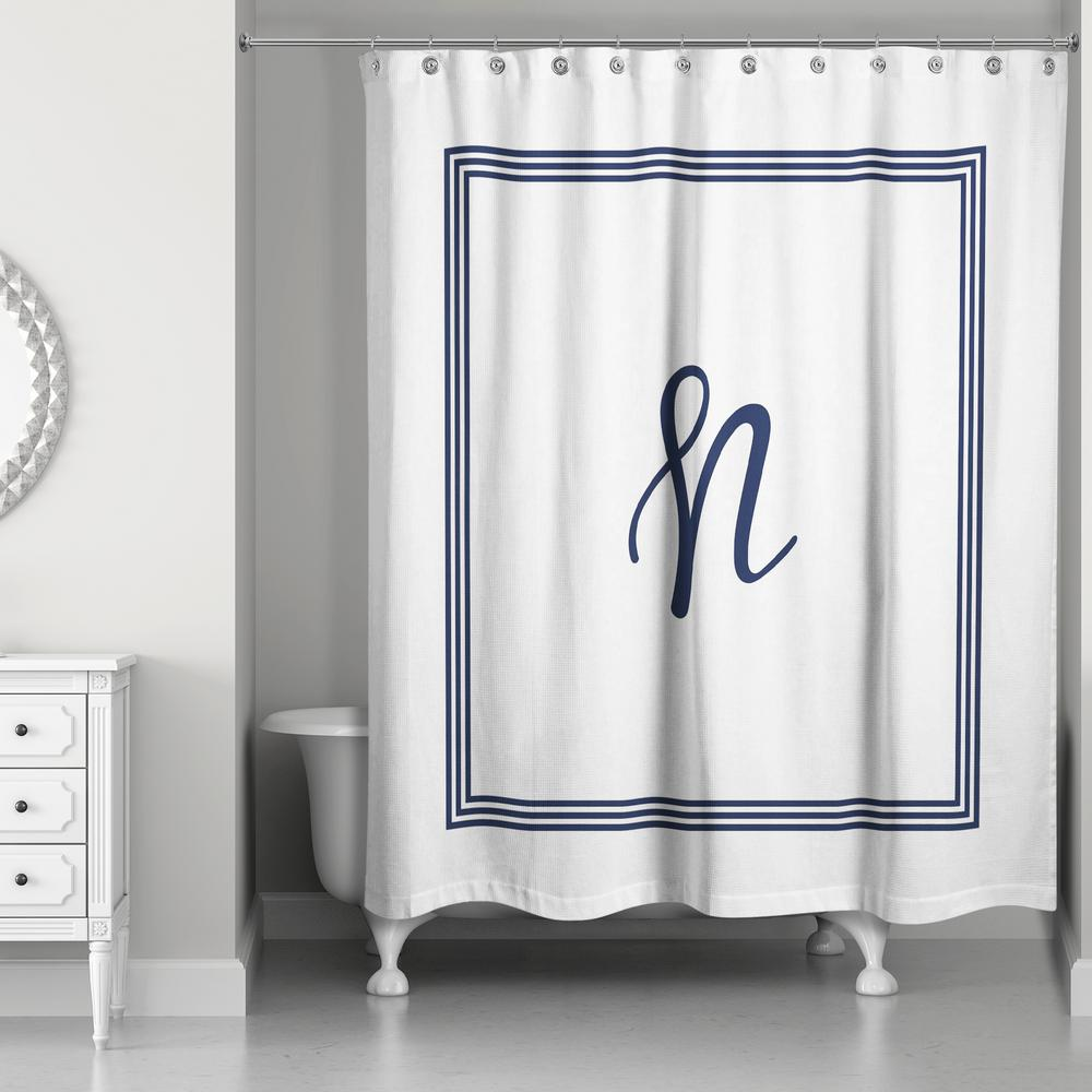 DESIGNS DIRECT 71 in. W x 74 in. L Navy Blue and White Letter N ...