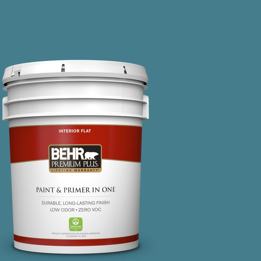 5 gal. #HDC-FL14-11 Cotton Denim Zero VOC Flat Interior Paint