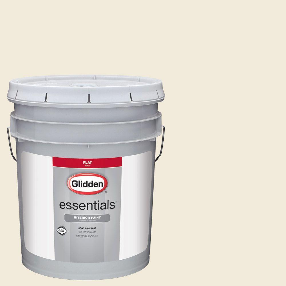Glidden Essentials 5 Gal Hdgg09u Soft Lime White Flat Interior Paint Hdgg09ue 05fn The Home Depot