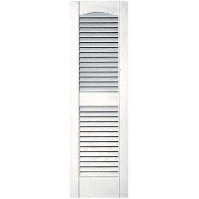 12 in. x 39 in. Louvered Vinyl Exterior Shutters Pair #117 Bright White