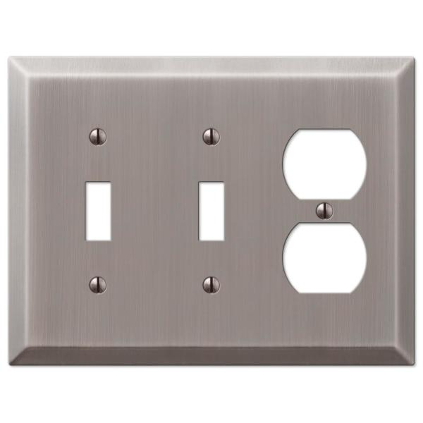 Metallic 3 Gang 2-Toggle and 1-Duplex Steel Wall Plate - Antique Nickel