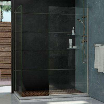Linea 34 in. x 72 in. and 30 in. x 72 in. Semi-Framed Shower Door in Brushed Nickel