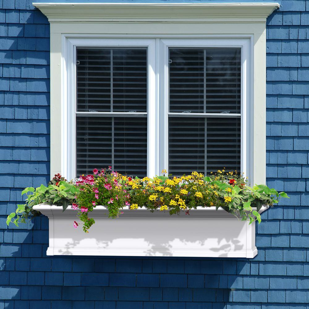 Mayne yorkshire 12 in x 48 in vinyl window box 4824w for 12x48 window