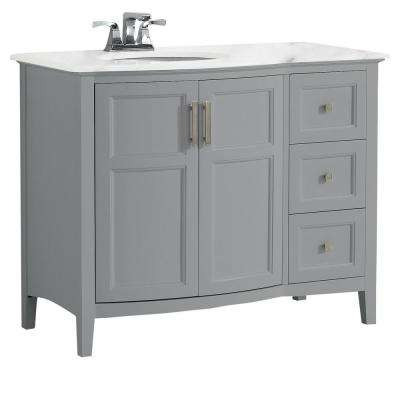 Winston 42 in. Rounded Front Bath Vanity in Warm Grey with Marble Extra Thick Vanity Top in Bombay White with Basin