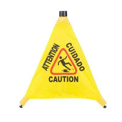 Pop-up 20 in. Cone Multi-Lingual Yellow Caution Wet Floor Safety Sign