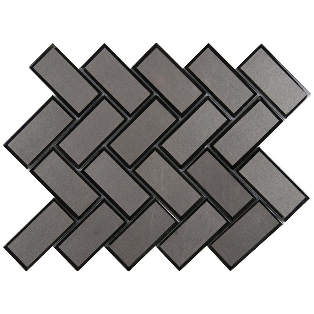 Metallic Gray Bevel Herringbone 13.86 in. x 11.08 in. x 8 mm Glass Mesh-Mounted Mosaic Tile (10.6 sq. ft. / case)