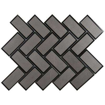 Metallic Gray Bevel Herringbone 11.08 in. x 13.86 in. x 8 mm Glass Mesh-Mounted Mosaic Tile (10.6 sq. ft. / case)