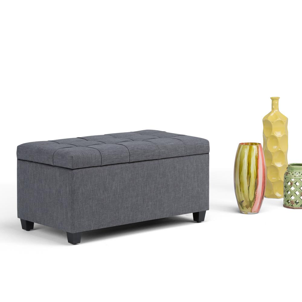 Simpli Home Sienna Slate Grey Linen Look Fabric Storage Ottoman