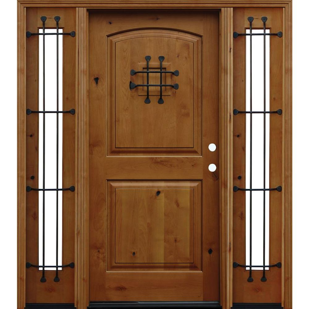 Pacific Entries 66 in. x 80 in. Rustic Arched 2-Panel Stained Knotty Alder Wood Prehung Front Door with 12 in. Sidelites
