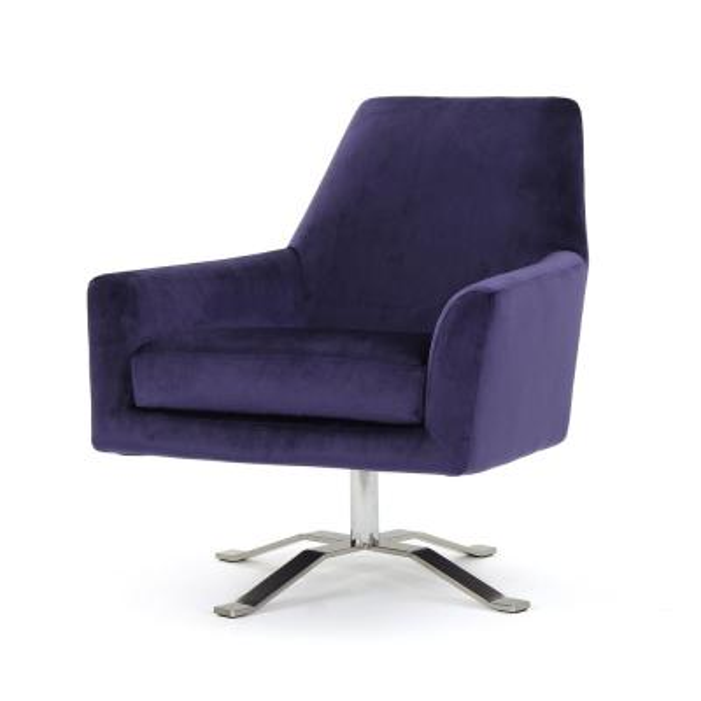 Ailis Plum Velvet Swivel Club Chair