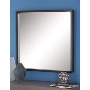 32 in. Modern Square Framed Wall Mirror in Black