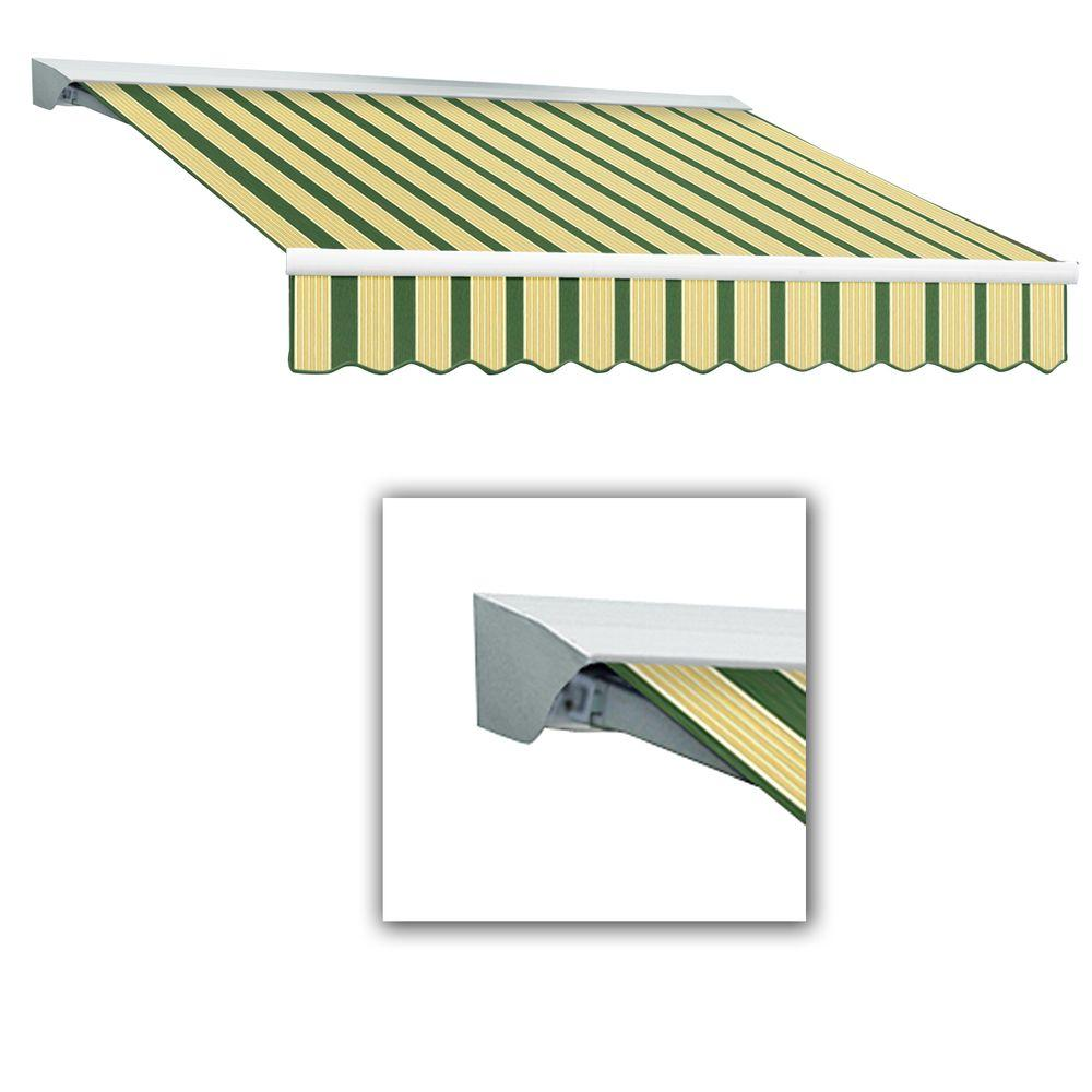 AWNTECH 10 ft. LX-Destin Left Motor Retractable Acrylic Awning with Remote/Hood (96 in. Projection) in Forest/Tan Multi