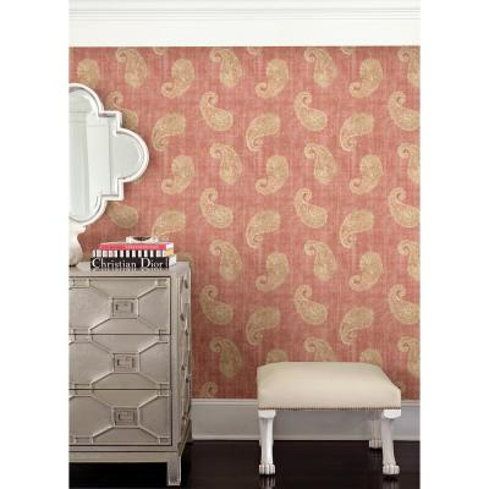 Kashmir Coral Paisley Wallpaper Sample
