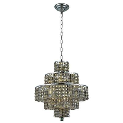 13-Light Chrome Chandelier with Golden Teak Smoky Crystal