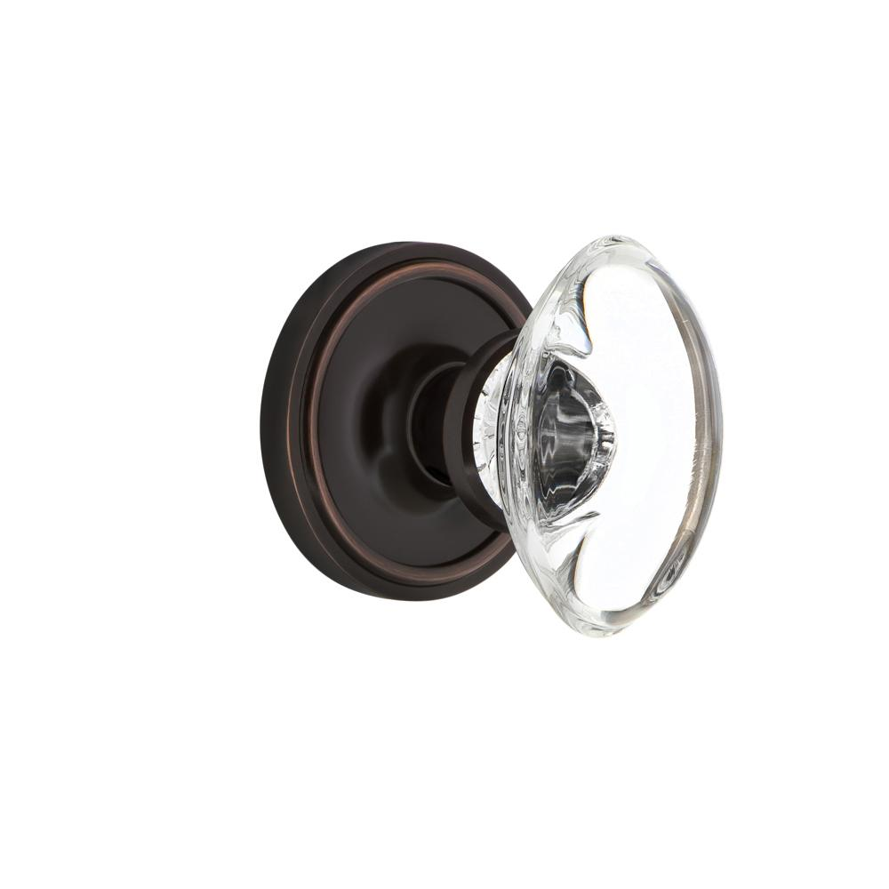 Classic Rosette Interior Mortise Oval Clear Crystal Glass Door Knob in Timeless Bronze