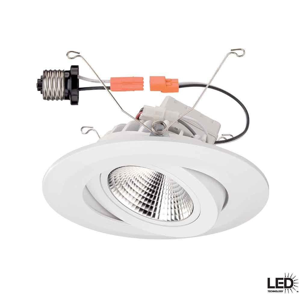 Commercial Electric 6 in. White Gimbal Recessed LED Trim