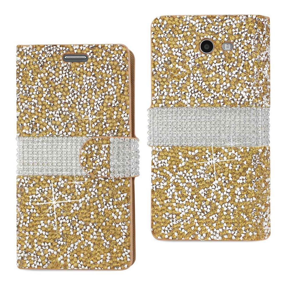 REIKO Galaxy J3 Emerge Rhinestone Case in Gold