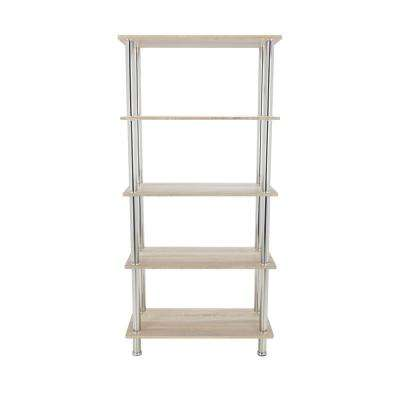 Whitewashed Oak and Chrome Tall 5-Tier Shelving Unit