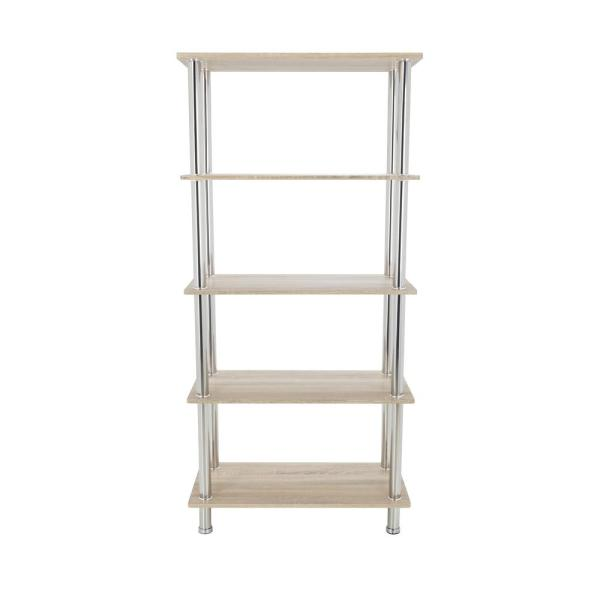 AVF Whitewashed Oak and Chrome Tall 5-Tier Shelving Unit