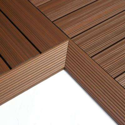 1/6 ft. x 1 ft. Quick Deck Composite Deck Tile Inside Corner in Brazilian Ipe (2-Pieces/box)