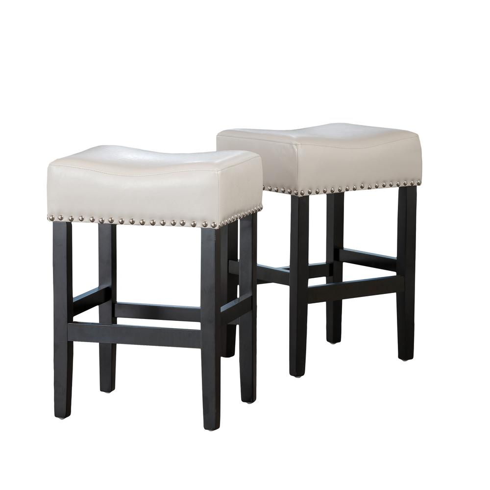 NobleHouse Noble House Lisette 26 in. Ivory Backless Counter Stool (Set of 2)