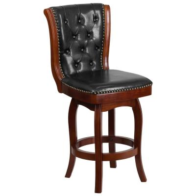 26 in. High Cherry Wood Counter Height Stool with Button Tufted Back and Black Leather Swivel Seat