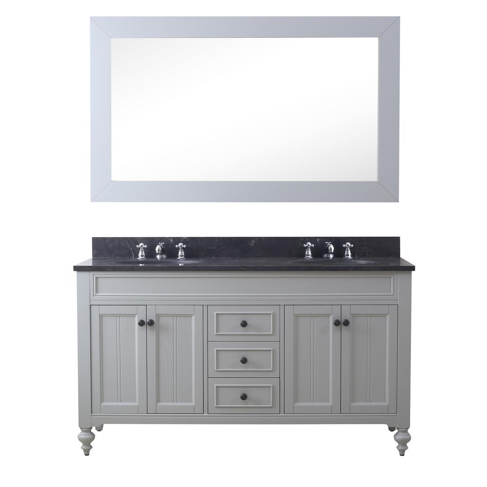 Water Creation Potenza 60 in. W x 33 in. H Vanity in Earl Grey with Granite Vanity Top in Blue Limestone with White Basins and Mirror