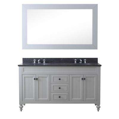 Potenza 60 in. W x 33 in. H Vanity in Earl Grey with Granite Vanity Top in Blue Limestone with White Basins and Mirror