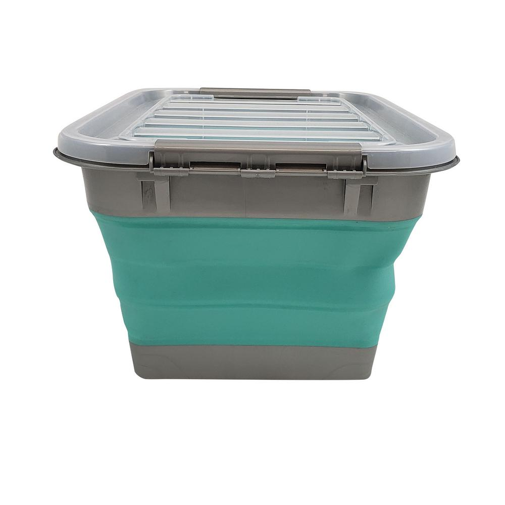 HOMZ HOMZ Store N Stow 17-Gal. Collapsible Storage Container with Wheels in. Grey and Teal Base with Clear Lid (4-Pack)