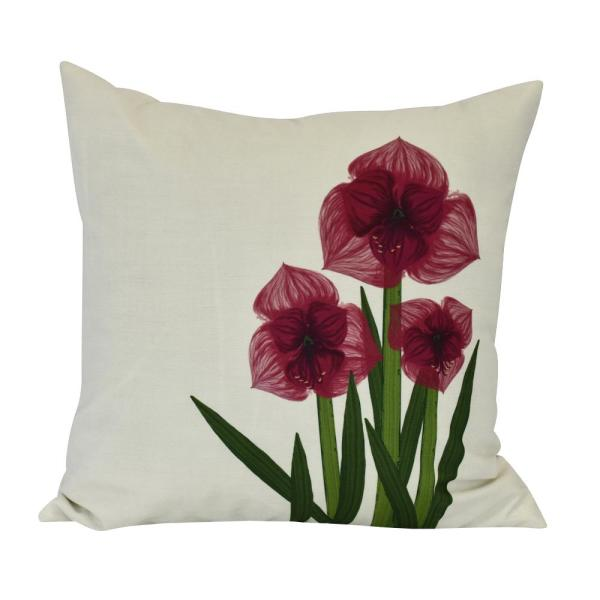 Amaryllis Floral Print Throw Pillow