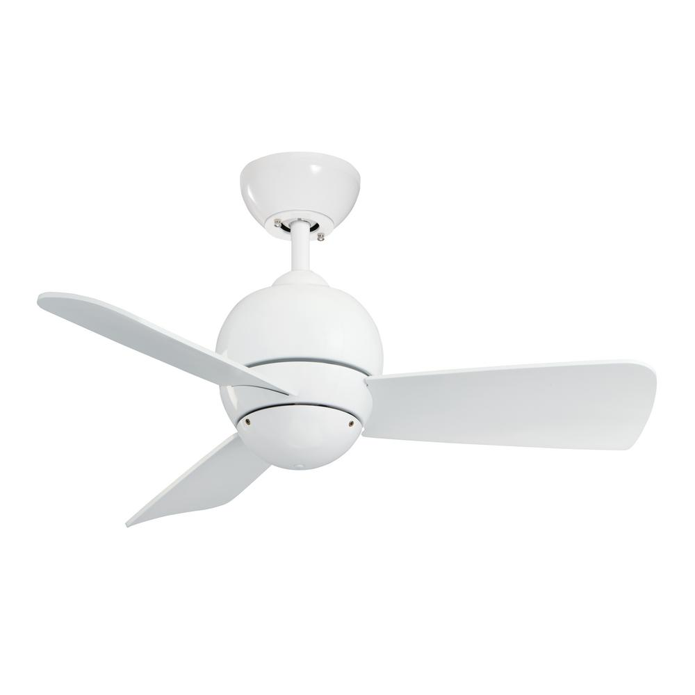 emerson volta 54 in. led indoor / outdoor satin white ceiling fan