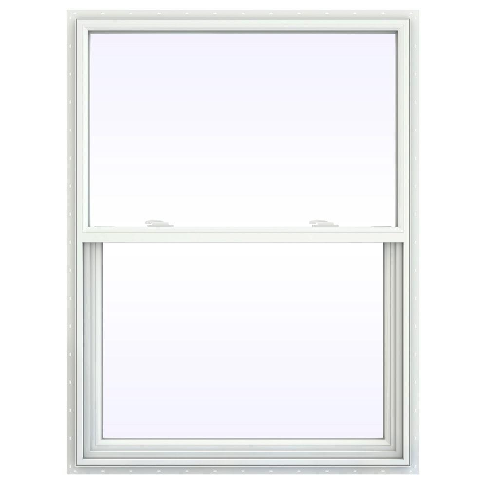 Jeld Wen 35 5 In X 41 V 2500 Series White Vinyl Single Hung Window With Fibergl Mesh Screen