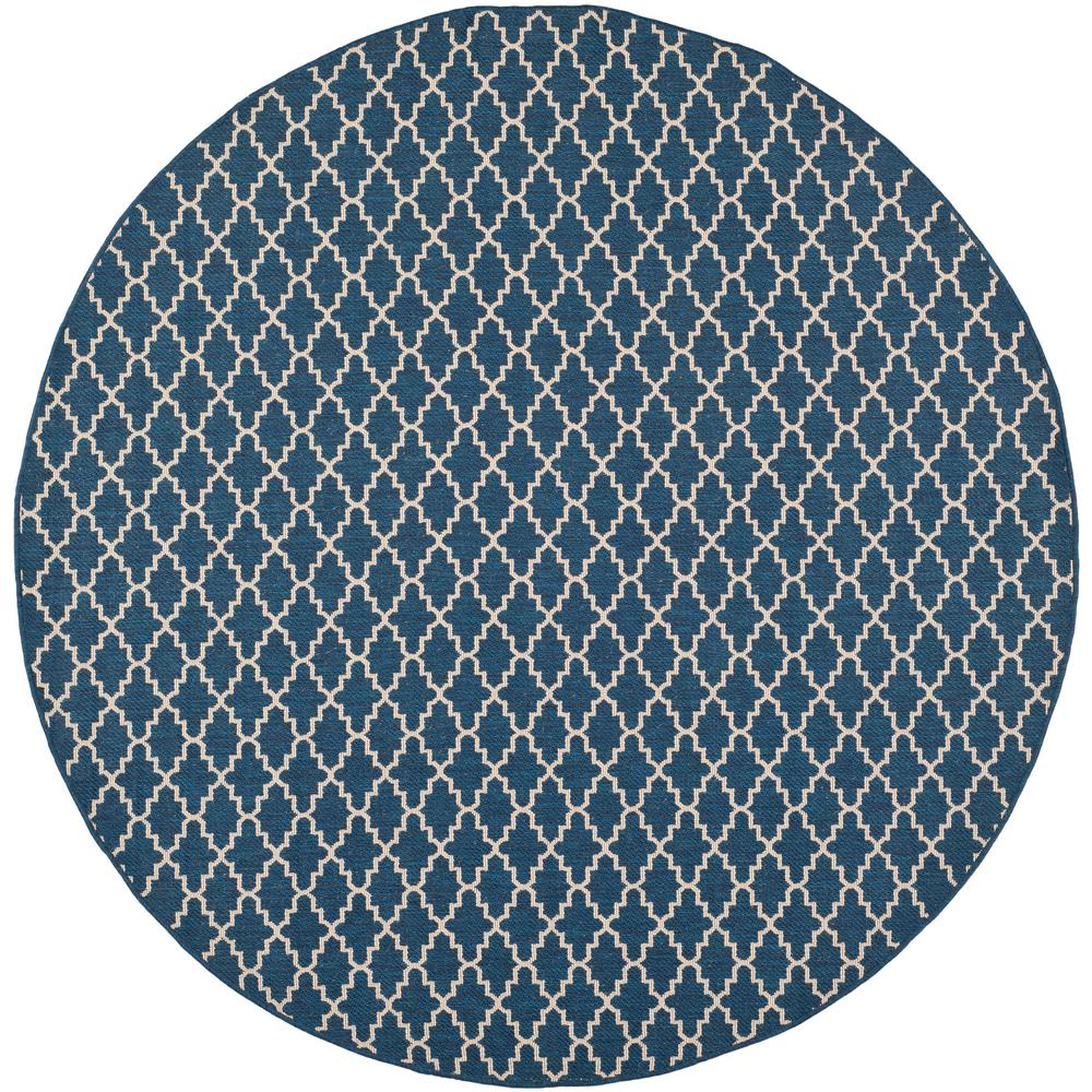 Safavieh Courtyard Navy Beige 5 Ft X 5 Ft Indoor Outdoor Round Area Rug Cy6919 268 5r The Home Depot
