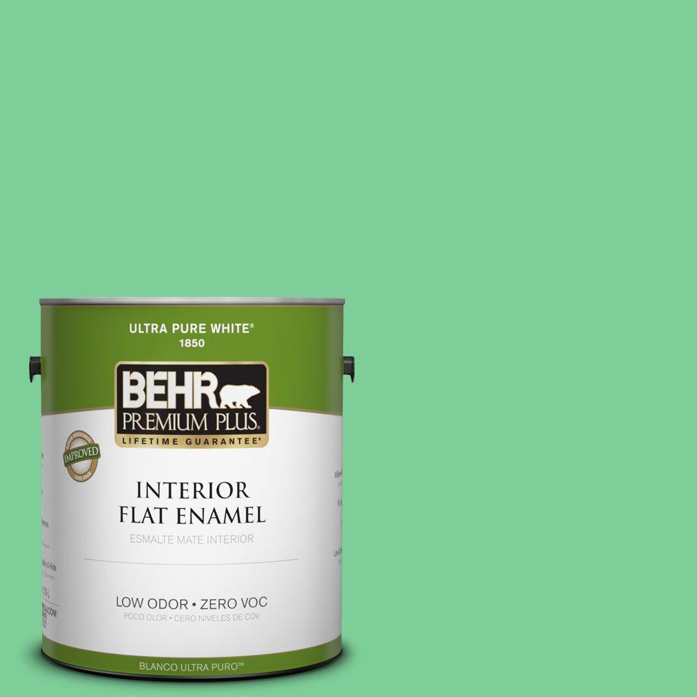 BEHR Premium Plus 1-gal. #460B-4 Garden Glow Zero VOC Flat Enamel Interior Paint-DISCONTINUED