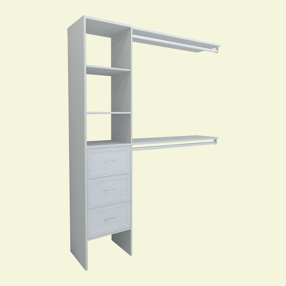 ClosetMaid Selectives 82.46 In. H X 108 In. W X 14.57 In. D 8 Pieces  Basic Plus Closet System In White 17009   The Home Depot