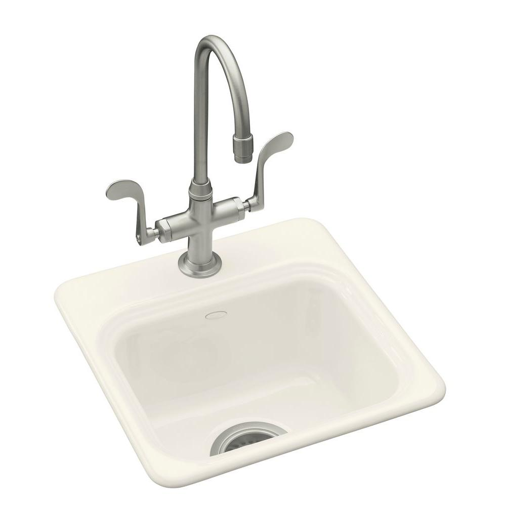 KOHLER Northland Drop-In Cast-Iron 15 in. 3-Hole Single Bowl Entertainment Sink in Biscuit