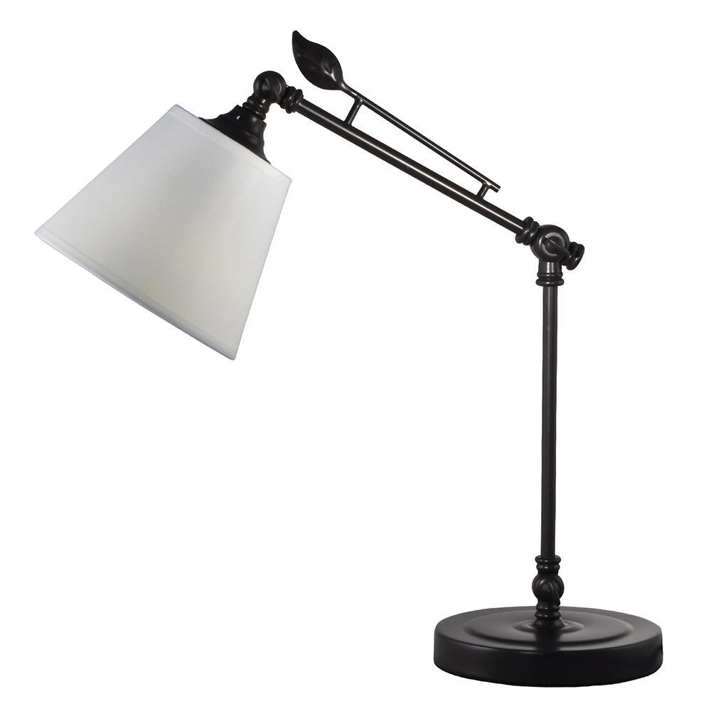 Springdale Lighting 19 in. Urban Dark Bronze Desk Lamp with Fabric Shade
