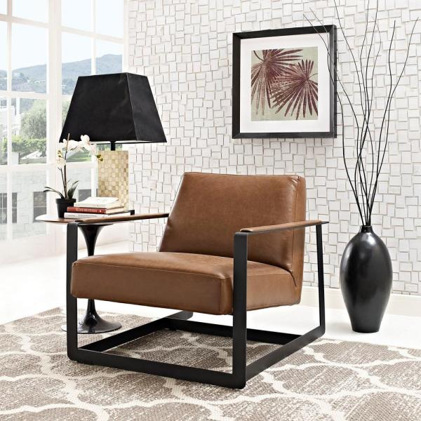 MODWAY Seg Brown Upholstered Vinyl Accent Chair