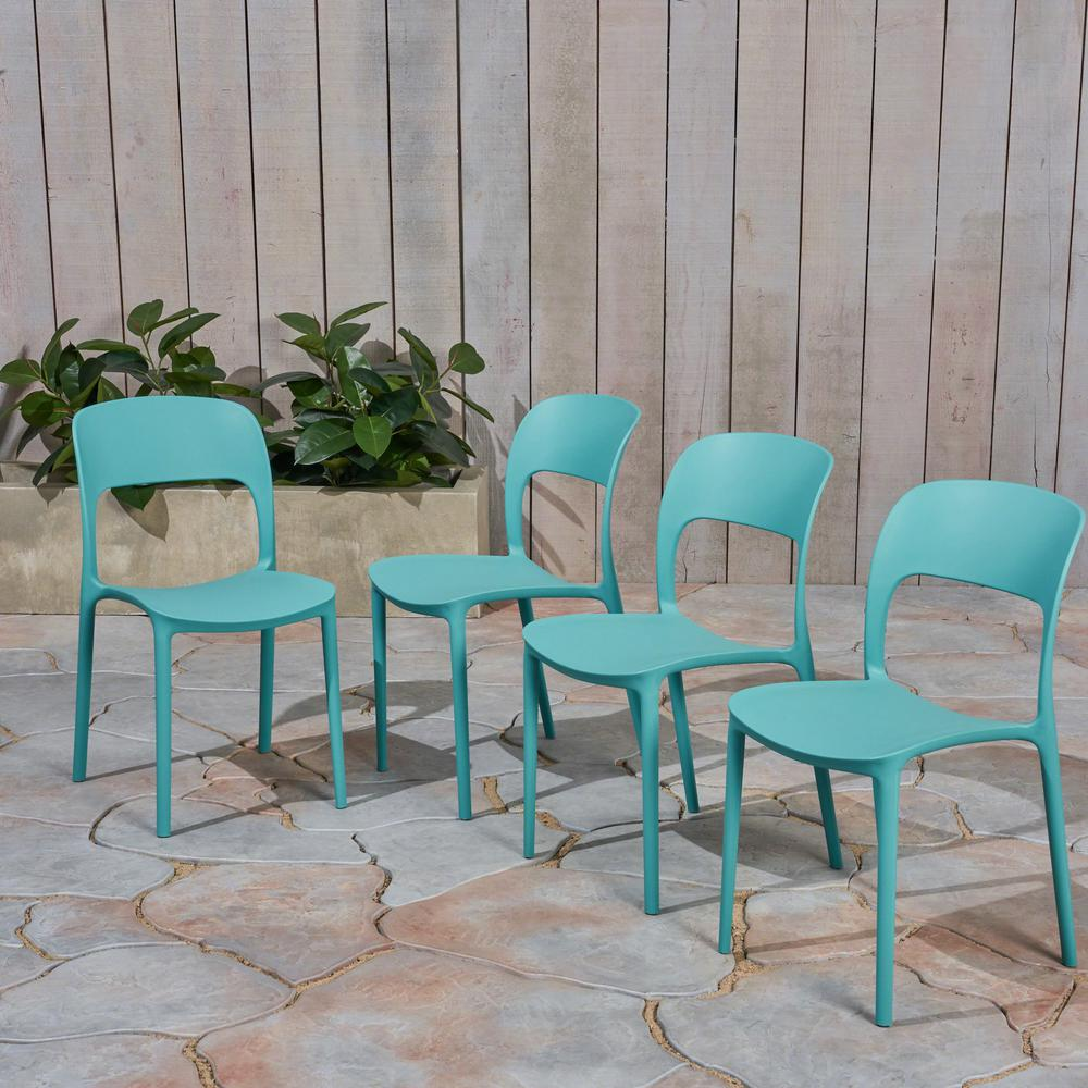 Katherina Teal Armless Plastic Outdoor Dining Chairs (4-Pack)