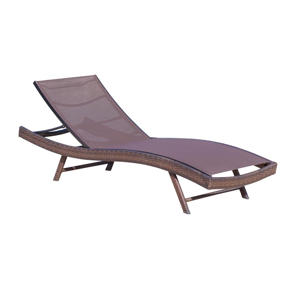 Noble House Kauai Brown 1-Piece Metal Outdoor Chaise Lounge