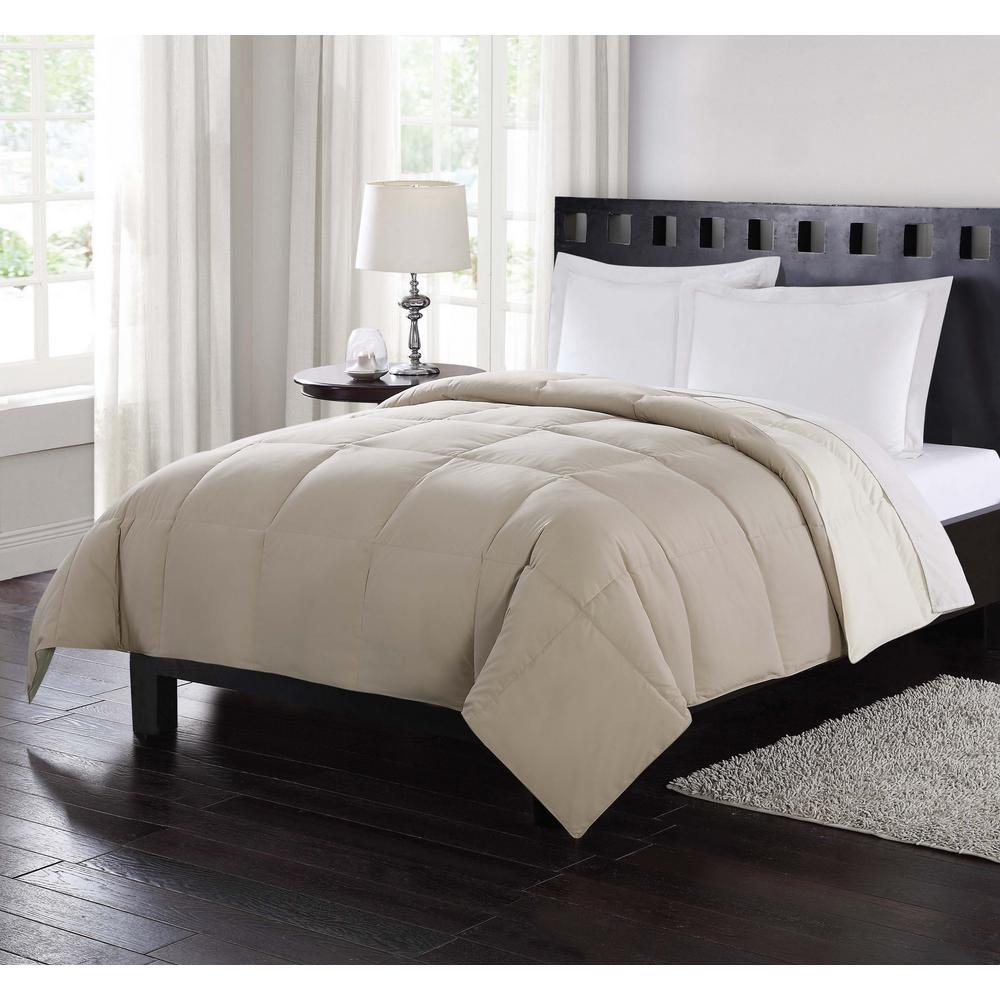 Down Reversible Tan Twin Comforter