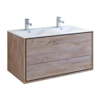 Catania 48 in. Double Wall Hung Bath Vanity in Rustic Natural Wood with Vanity Top in White with White Basin
