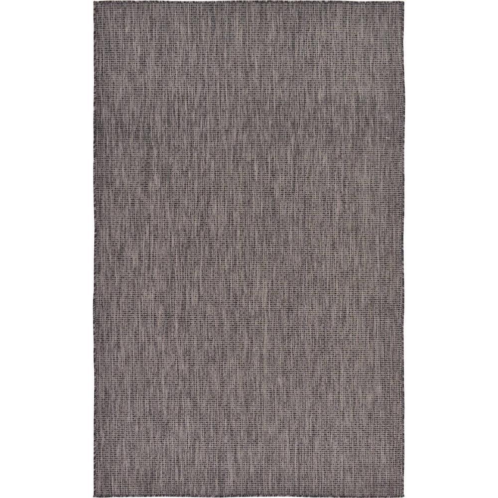 Outdoor Solid Black 5 ft. x 8 ft. Area Rug