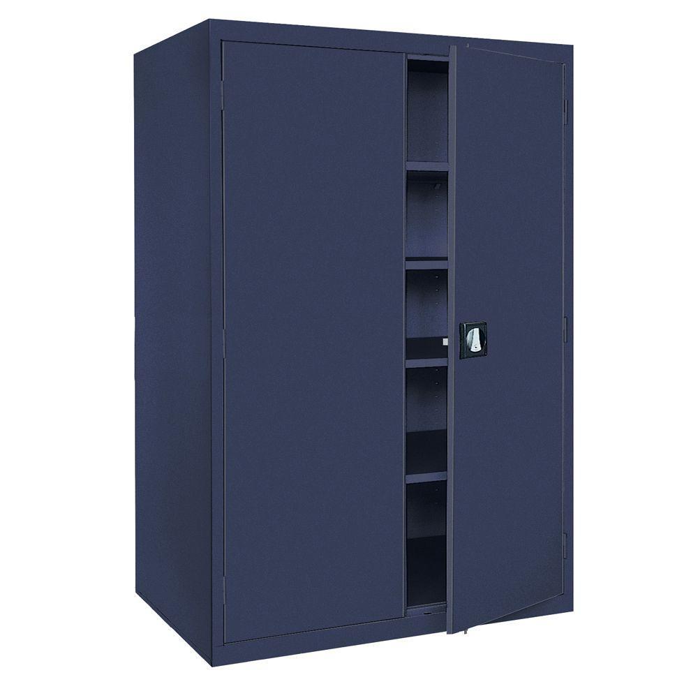 Sandusky Elite Series 78 in. H x 46 in. W x 24 in. D 5-Shelf Steel Recessed Handle Storage Cabinet in Navy Blue