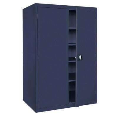 Elite Series 78 in. H x 46 in. W x 24 in. D 5-Shelf Steel Recessed Handle Storage Cabinet in Navy Blue