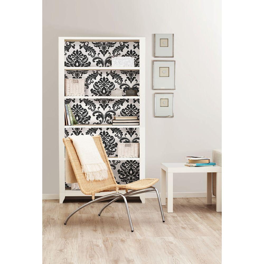 30.75 sq. ft. Ariel Black and White Damask Peel and Stick