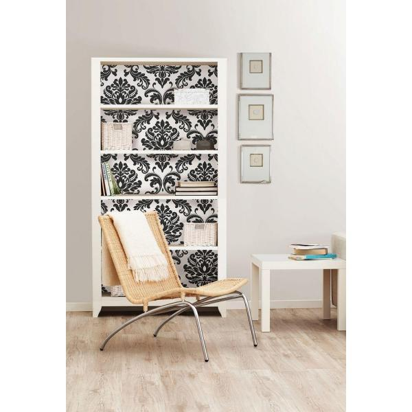 Nuwallpaper Ariel Black And White Damask Vinyl Strippable Wallpaper Covers 30 75 Sq Ft Nu1646 The Home Depot