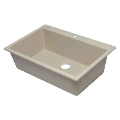 Drop-In Granite Composite 33 in. 1-Hole Single Bowl Kitchen Sink in Biscuit
