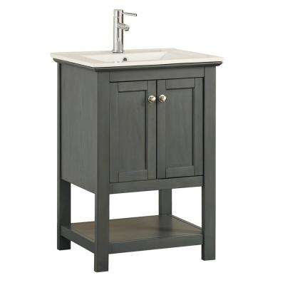 Bradford Regal 30 in. W Traditional Bathroom Vanity in Gray with Ceramic Vanity Top in White with White Basin